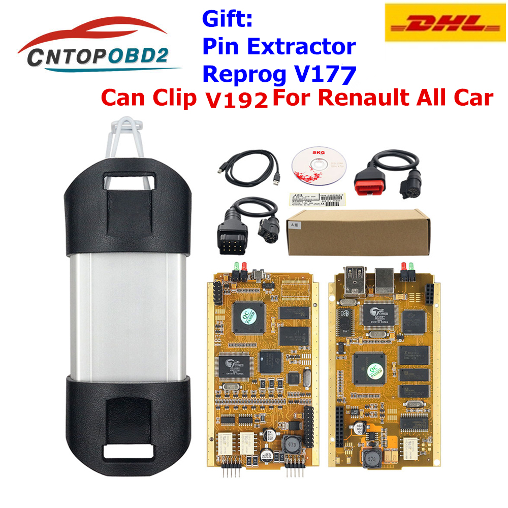 For Renault Can Clip V190 Gold Full Chip CYPRESS AN2131QC Car Diagnostic Tool For 1998-2019 Pin Extractor+Reprog V177 DHL Free