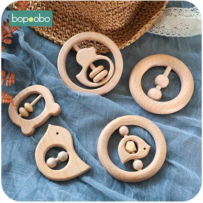 Bopoobo 1 pc 아기 장난감 너도밤 나무 나무 젖니가 남김 나무 반지 제품 씹는 구슬 놀이 체육관 몬테소리 완구 아기 딸랑이 나무 teether