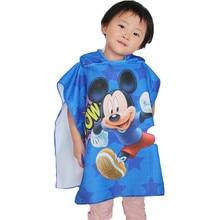 Детское банное полотенце с капюшоном Disney, накидка, пляжное полотенце, одеяло, банный халат, полотенце с капюшоном, полотенце для душа, Микки, ...