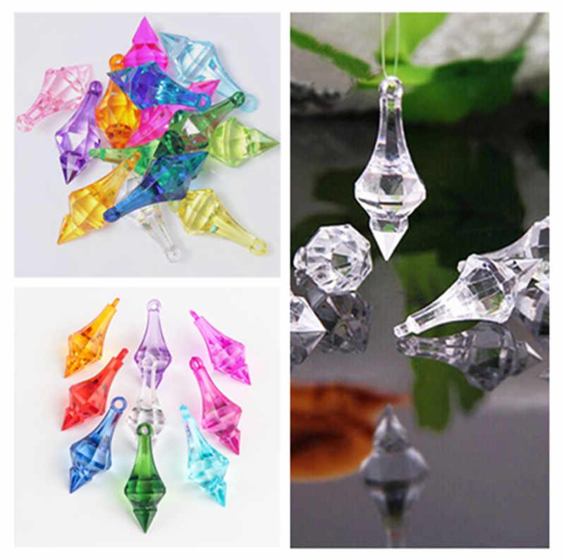 12 Pcs/Banyak Menggantung Liontin Berlian Lampu Gantung Kristal Akrilik Manik-manik Rumah DIY Pesta Pernikahan Kerajinan Dekorasi