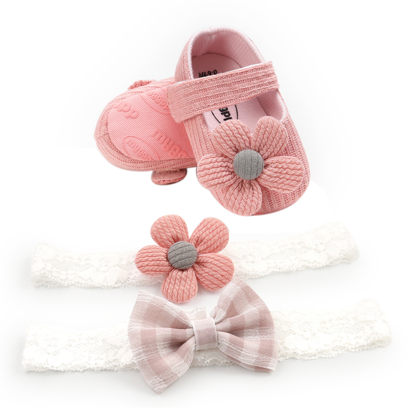 0-18M Infant Newborn Baby Girls Boys Crib Shoes Cotton Flowers Hook Soft Cork Baby Shoes 6 Colors+Headband 2