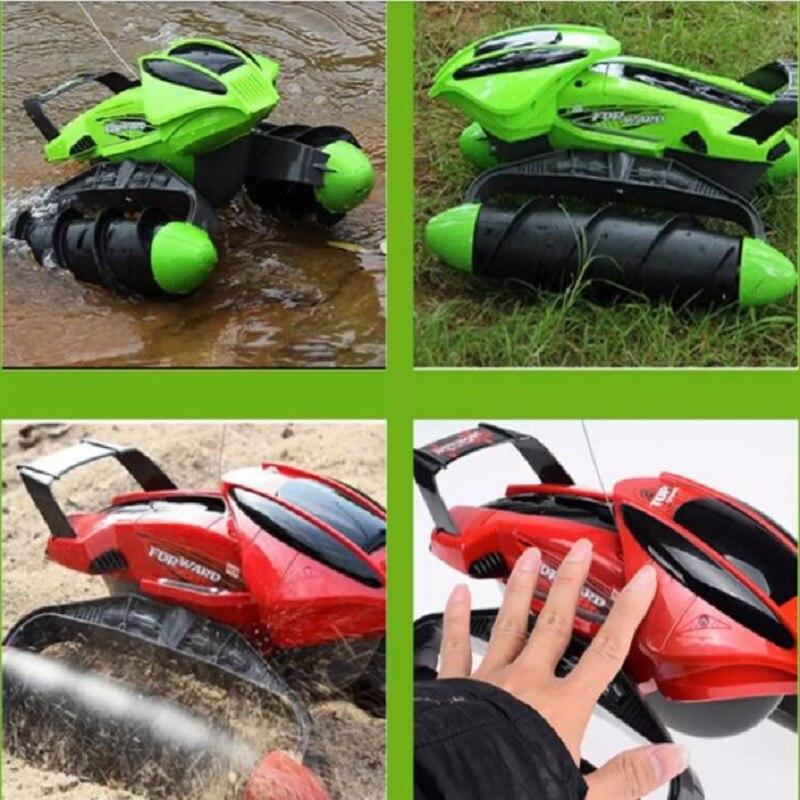 A prueba de agua RC coche tanque anfibio carretera truco RC coche aplicar a todas las carreteras luz diseño especial de juguete de Control remoto - 5