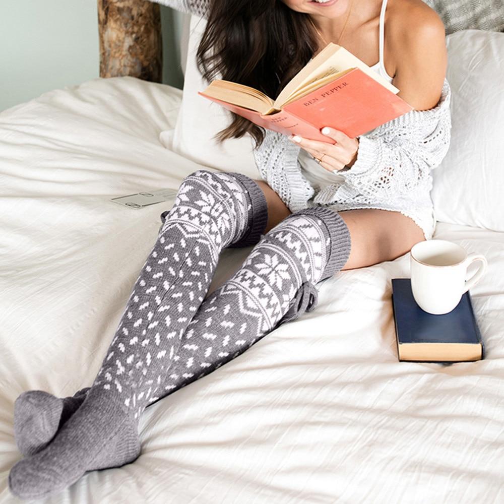 1 Pair Fashion Women Christmas Print Women Winter Warm Thigh High Long Socks Knit Over Knee Happy Socks Funny Socks Stocke