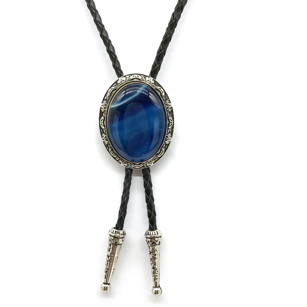 Man BOLO TIE Natural Agate Stone Shell Seaweed Tiger Eye Stone High-grade Leather Collar Bow TIE