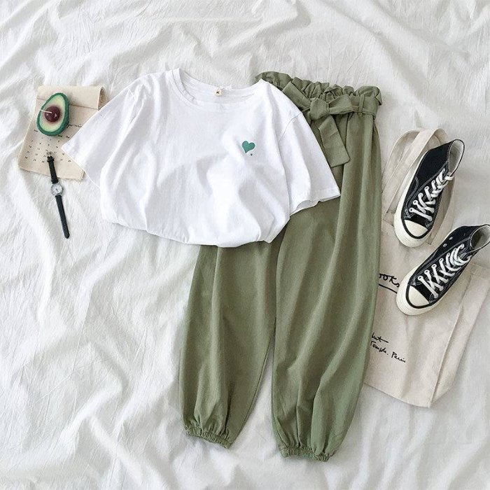 Summer New Famale Tracksuits Fashion CLothes Casual Loose White Top And Pant 2 Piece Sets Women Students Girl Sweet Sportswear