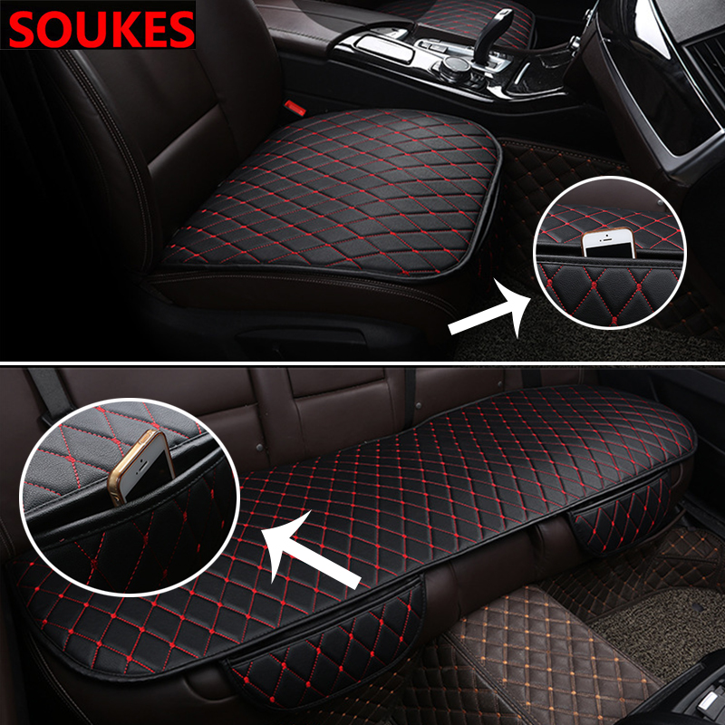3 in1 Leather Car Front Rear <font><b>interior</b></font> Seat Cover <font><b>For</b></font> Volvo S60 V70 XC90 Subaru Forester <font><b>Peugeot</b></font> 307 206 308 <font><b>407</b></font> <font><b>Accessories</b></font> image