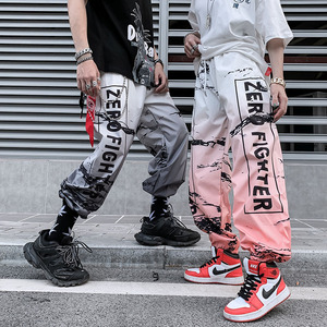Image 2 - American Style Streetwear Hip Hop Trousers Unisex Jogger Sports Pants Youth Fashion Color Gradient Letter Harem Pants Summer