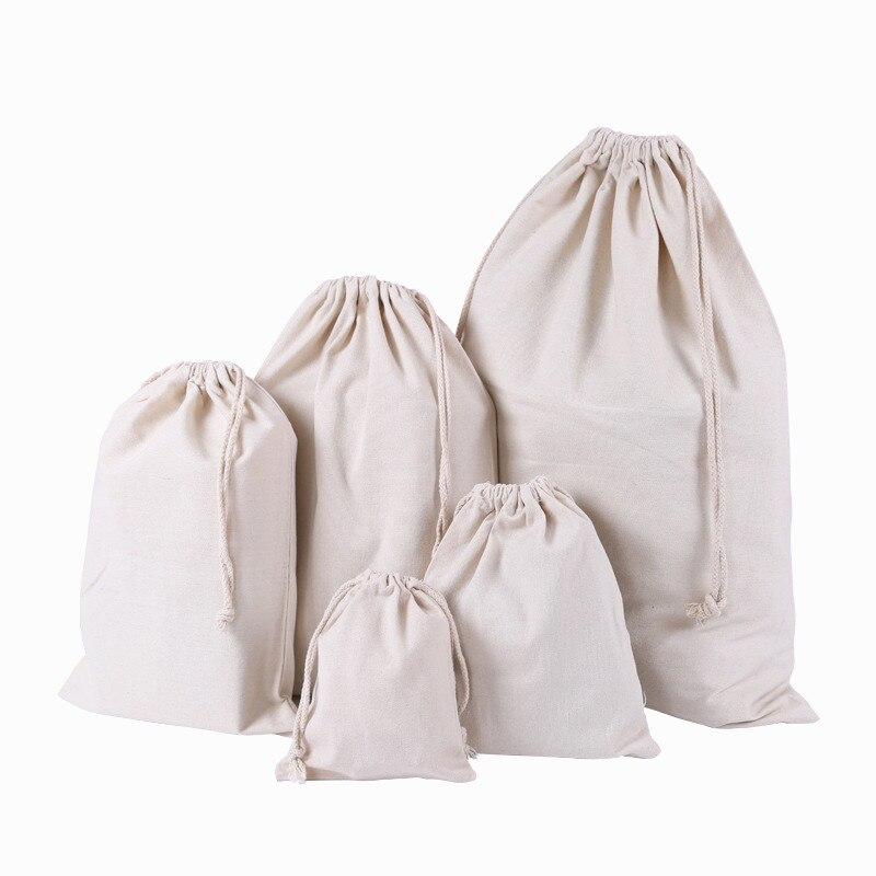 Canvas Drawstring Bag Pocket Clothing Organize Storage Bag Custom-Built Rice Ditty Colour Printing Advisment Cotton Linen Bags