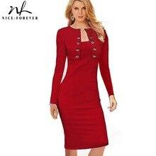 Ładny zawsze zimowe guziki z długim rękawem biurowy strój biznesowy elegancki Plus rozmiar kobiety Vintage Pinup Bodycon sukienka ołówkowa b10