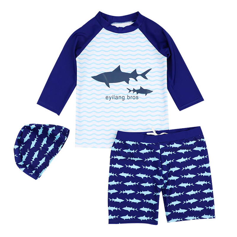 Brand Baby Boys Swimsuit Two Pieces Rash Guard Trunks Set Long Sleeve Shark Print Blue Children Swimwear Swimming Bathing Suits