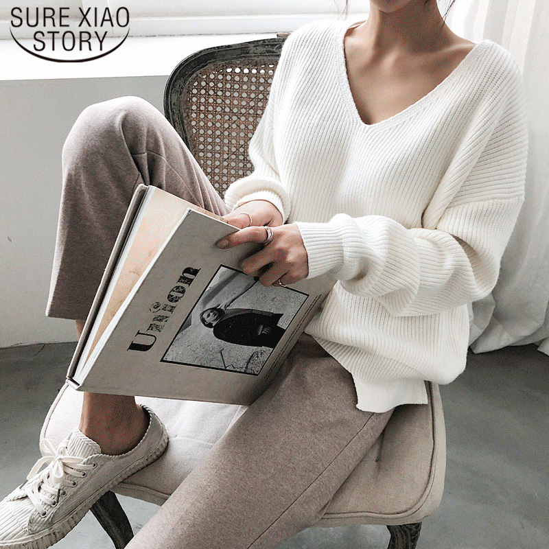 Casual Pullover 2019 Autumn Winter Women's Sweaters V-Neck Minimalist Tops New Fashionable Korean Style Knitting Solid 7290 50