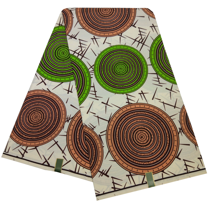African Ankara Green&Brown Print Fabrics 6 Yards Veritable Wax Tissu African Batik Fabric Nigeria Wax Polyester Meterial Sewing