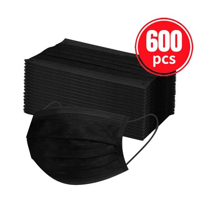 10/100/600 шт Черный Одноразовая маска для лица взрослых нетканые маски маска дышащий 3-слойный уход за кожей лица крышка рот маски Mascarillas