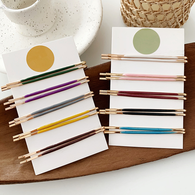 AOMU 1Pair Japanese Fashion Hairpins Simple Colorful Hair Clip Alloy Barrette For Women Girls Hairpin Hairband Hair Accessories