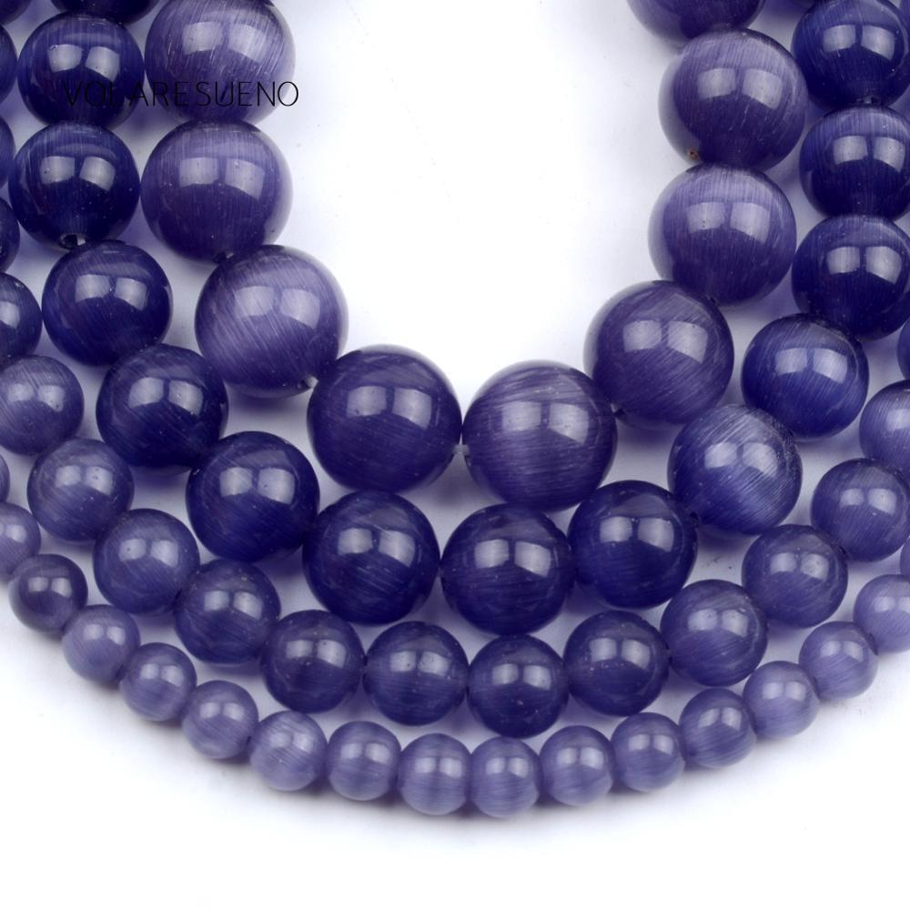 """Purple Cat Eye Opal Stone Natural Round Loose Beads 15"""" Strand Pick 4-12mm Spacer For Necklace Accessory Jewelry Making"""