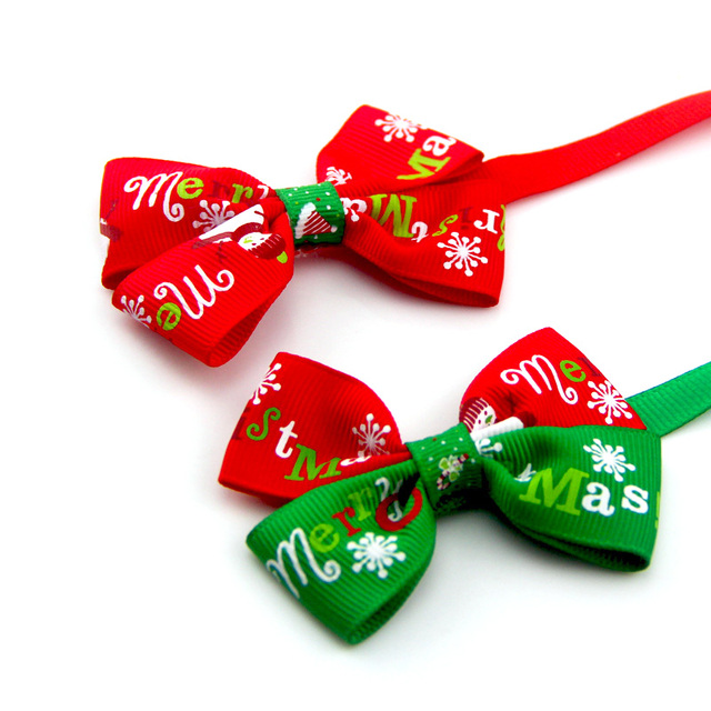 Christmas Adjustable Cat Dog Collar Holiday Cats Dog Bow Tie 4