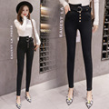 2018 plus Velvet Warm Photo Shoot Korean-style Black And White with Pattern Leggings Women's Outer Wear High-waisted Pencil Pant
