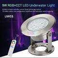 Miboxer 9 Вт RGB + CCT светодиодный подводный светильник AC12V/DC12-24V с регулируемой яркостью Смарт IP68 подводная лампа FUT086 8-Zone Remote