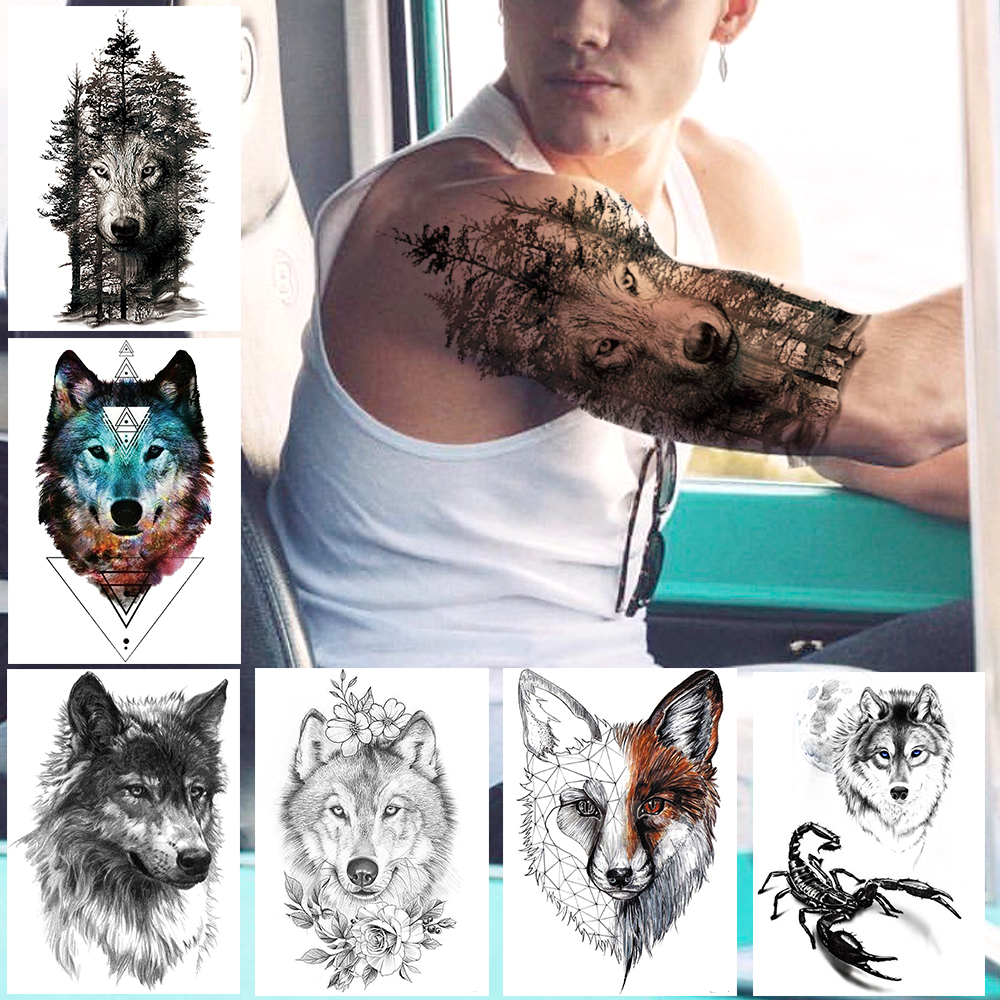 Night Forest Werewolf Tattoos For Men Women DIY Realistic Temporary Tattoos Geometric Fake Wolf Scorpion Tatoo Paper Stickers