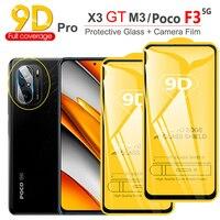 poco x 3 gt Cristal Templado Poco F3 9D Screen Protector para Xiaomi POCO F3 M3 Pro Poko X3 GT 5G película cámara Poco M3 Pro Protector Pantalla Pocophone F 3 X3 M3 Pro Poco-F3 Protector Pantalla poco x3 gt