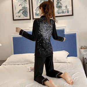 Image 1 - Весенне осенние пижамы женские пижамные комплекты с длинными рукавами Стразы с блестками пижамы женские пикантные пижамы Женская домашняя одежда
