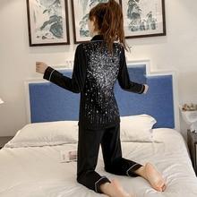 Ilkbahar ve sonbahar pijama kadın Rhinestone Sequins uzun kollu pijama setleri pijama kadın seksi pijama kadın ev tekstili