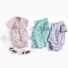 Костюм для малышей в японском стиле домашняя одежда с короткими