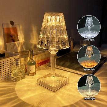 Diamond Table Lamp USB Rechargeable Acrylic Homen Decoration Desk Bedroom Bedside Bar Crystal Light Fixtures Gift Night Light 1