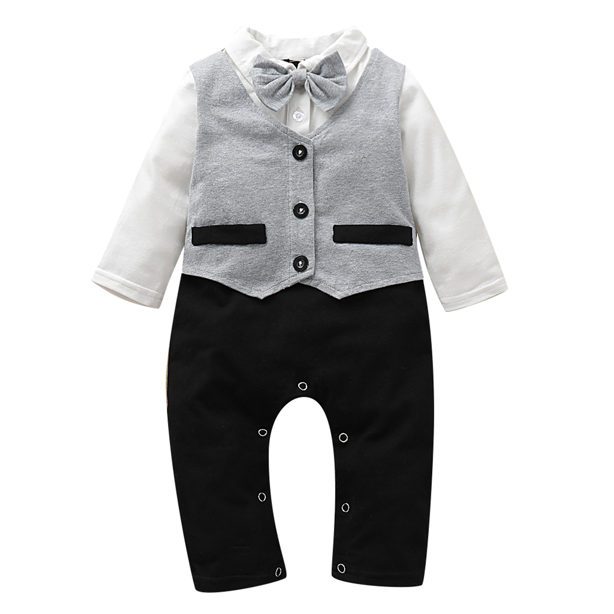 puseky Newborn Baby Boys Gentleman Bowknot Outfits Letters Long Sleeve Romper Pant Hat Clothes Set