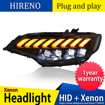 Hireno For Honda FIT JAZZ GK5 2014-2018 Headlights LED DRL Running lights Bi-Xenon Beam Fog lights angel eyes Auto