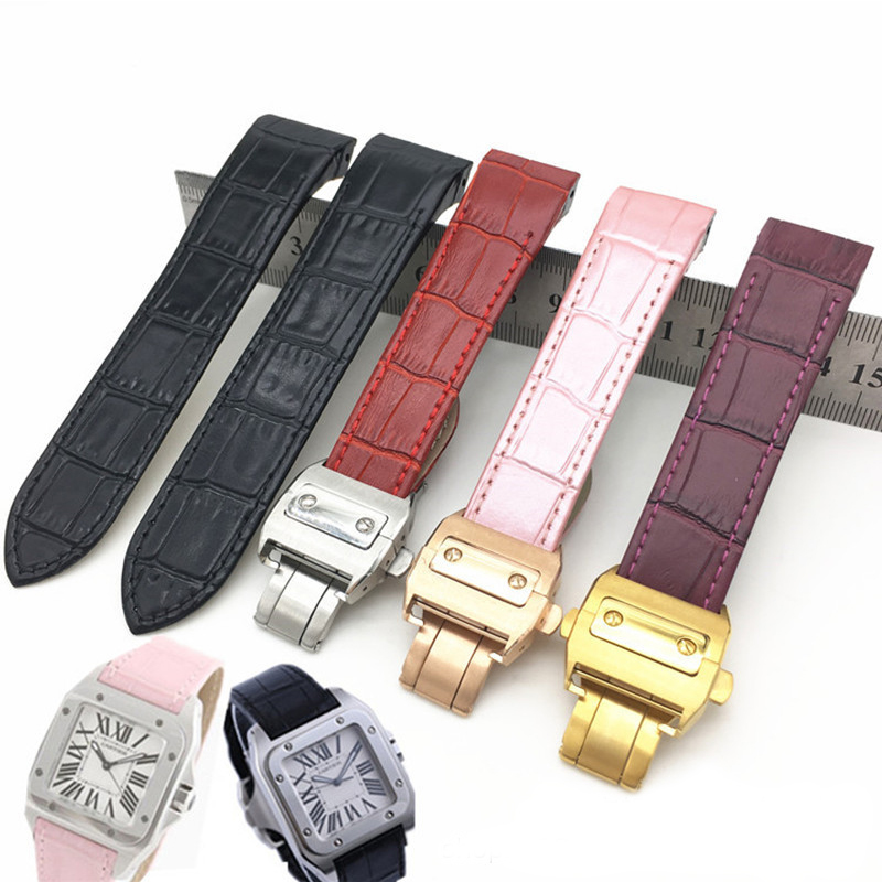 Leather strap men's 20mm23mm calf leather watch with accessories for Cartier Santos female Santos Santos100 tanks outdoor sports waterproof bracelet men watch band