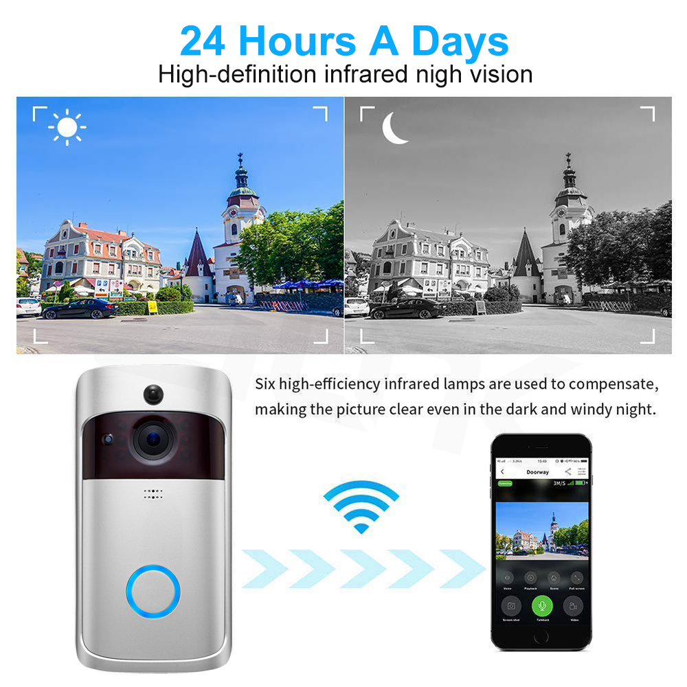 Image 5 - Smart Video Doorbell Wireless WIFI DoorBell Camera 720P Home Security IP Intercom Door Phone Battery Powered PIR Alarm Cloud-in Video Intercom from Security & Protection
