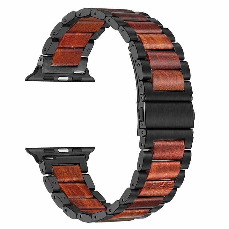 Natura drewno i stal nierdzewna pasek do zegarka iwatch Apple Watch seria 5 4 3 2 1 44mm 42mm 40mm 38mm czerwone drzewo sandałowe pasek zespołu