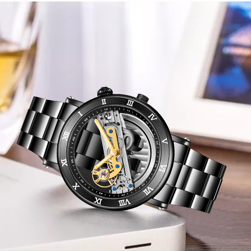 Forsining Men Skeleton Automatic Mechanical Watches Men Double Side Transparent Stainless Steel Watches Fashion Luminous Clock