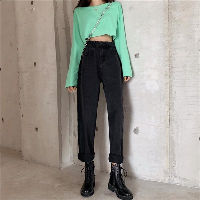 JUJULAND Women High Waist Jeans Denim Harem Pants Jeans Womens High Streetwear Loose Pants Black Jeans Women Plus Size 9681