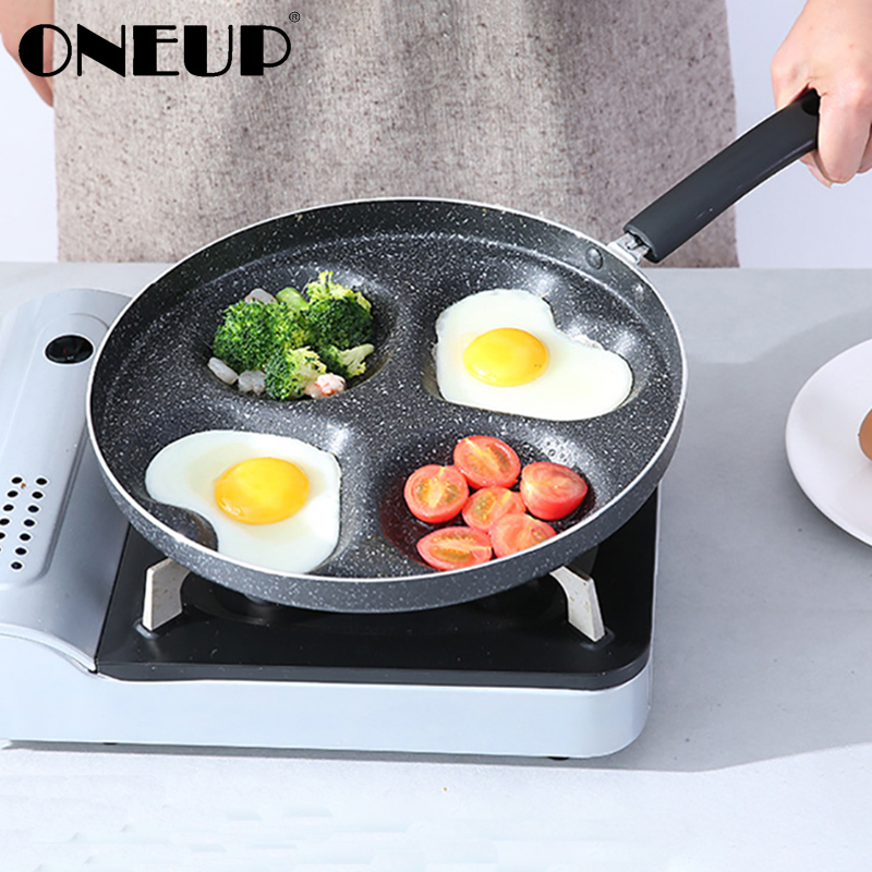 ONEUP Frying Non-Stick Pan Four-Hole Omelette Multifunction Pan Eggs Ham Pancake Maker No Oil-Smoke Breakfast Grill Pot Cooking
