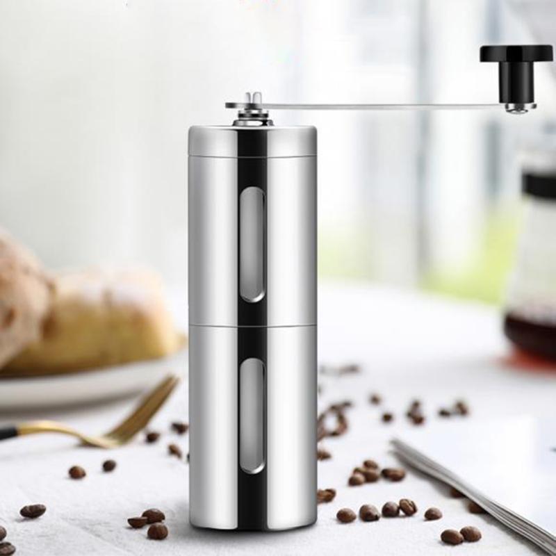 Серебристая кофемолка, ручная мини-кофемолка из нержавеющей стали ручной работы, кофемолка, мельница, кухонный инструмент, Крокус шлифовал...