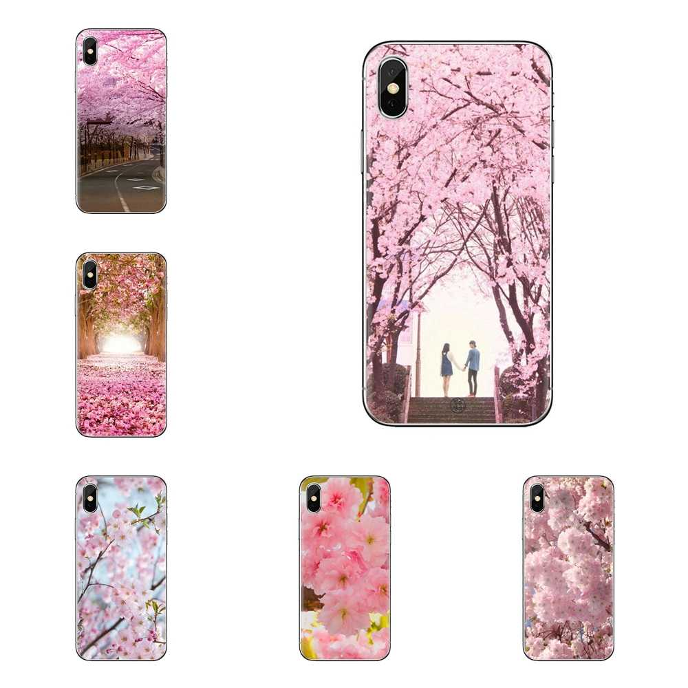 Zachte Transparante Shell Covers Romantische Japan cherry blossom Voor Samsung Galaxy A3 A5 A7 A9 A8 Ster A6 Plus 2018 2015 2016 2017