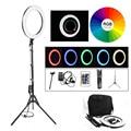 18 дюйм RGB 19 цветов Selfie Ring Light круглая лампа 544 шт светодиодный Бисер для студийной фотографии фото YouTube с штативом