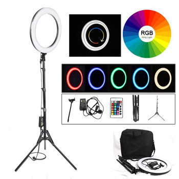 18 inch RGB 19Colors Selfie Ring Light ringlight Annular Lamp 544PCS LED Beads for Studio Photography photo YouTube With Tripod