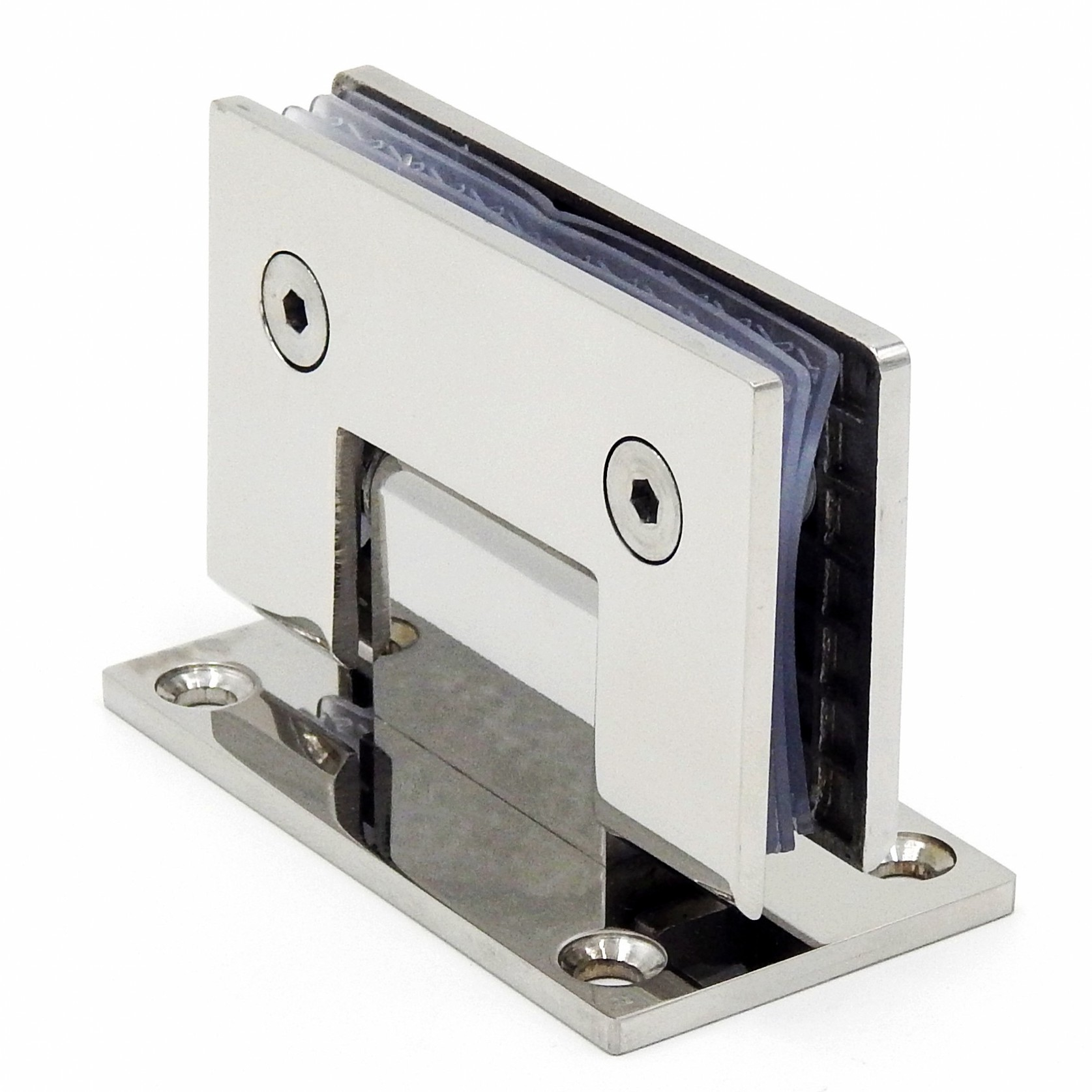 Bisagra de puerta de vidrio sin marco de acero inoxidable 90 grados de abrazadera de baño espejo Luz de baño Clip de vidrio plegable Paquete de correo