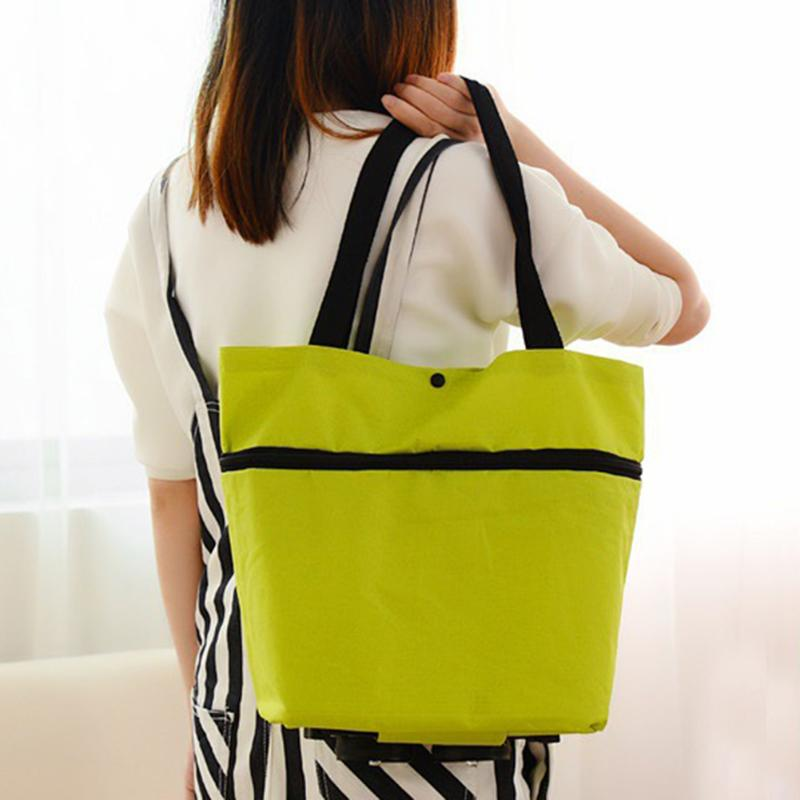 Women Oxford Reusable Folding Shopping Bag Shopping Cart With Wheels Bag Small Pull Cart Women Shopping Organizer Tug Package