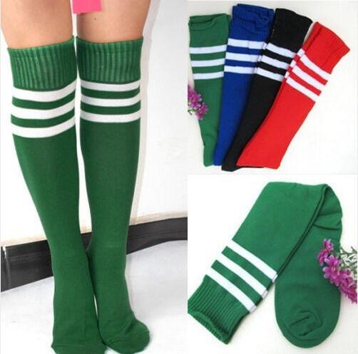Women Men Unisex Athletic Stripe Sports  Football Running Knee High Tube Socks Fashion Sweat-Absorbent Breathable Striped Stocks