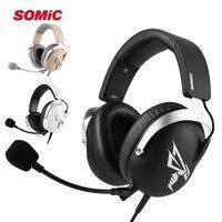 G805 somic gaming headset 50mm usb 7.1 surround virtual gamer fone de ouvido estéreo fones de ouvido de som com microfone para lol pc ps4