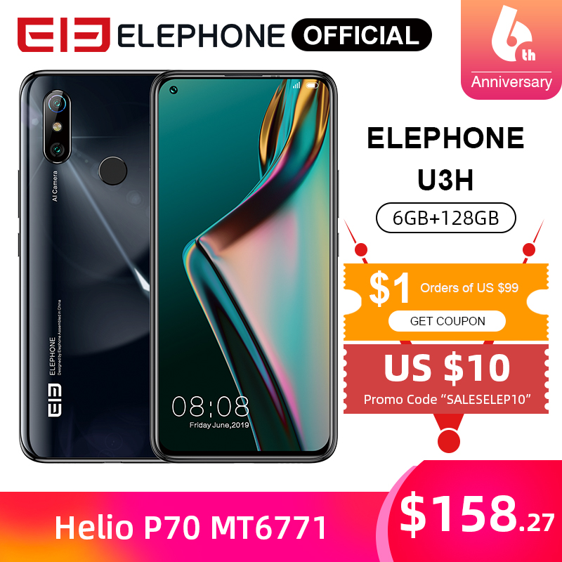ELEPHONE U3H Helio P70 Octa Core 6.53 FHD+ 128GB / 256GB Android 10 24MP Selfie 48MP Camera Mobile Phone 3500mAh NFC Cellphone image