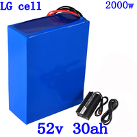 51.8V 52V 30AH Ebike Battery Pack 14S 52V 30AH 35AH Electric Bike Lithium Scooter Battery use LG cell for 48V 1000W 2000W Motor