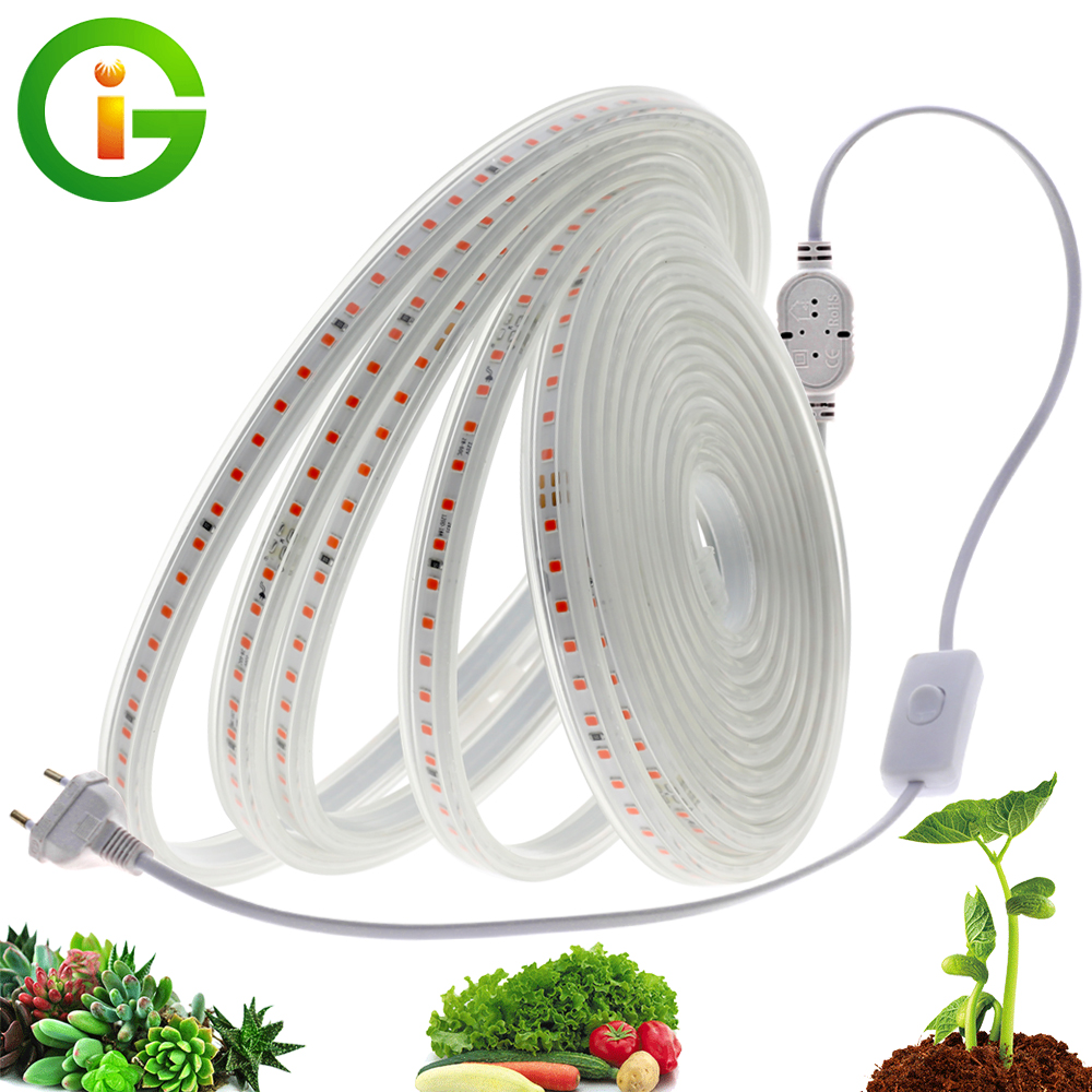 LED Grow Strip Full Spectrum Waterproof AC220V LED Grow Light 2835 LED Phyto lamps For Plants Flowers Greenhouses Hydroponic