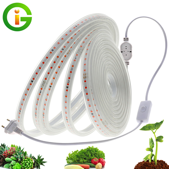 LED Grow Strip Full Spectrum Waterproof AC220V LED Grow Light 2835 LED Phyto lamps For Plants Flowers Greenhouses Hydroponic 5m led grow light strip full spectrum uv lamps for plants waterproof phyto lamp red bluetape for greenhouse grow tent hydroponic