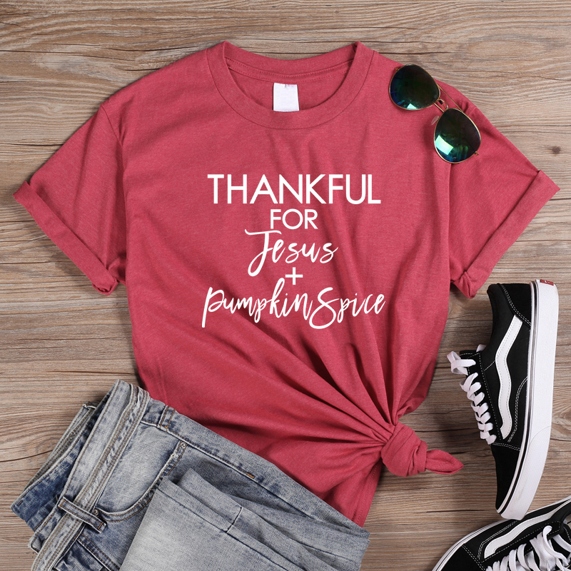 ONSEME Thankful For Jesus Letter Slogan T Shirts Christian T Shirt Women Bible Blessed Tees Female Hipster Cotton Tops Tshirt in T Shirts from Women 39 s Clothing