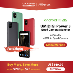 UMIDIGI Power 3 48MP Quad AI камера 6150mAh Android 10 6,53 FHD + 4GB64GB NFC мобильный телефон с тройными слотами 10W FastReverse зарядка